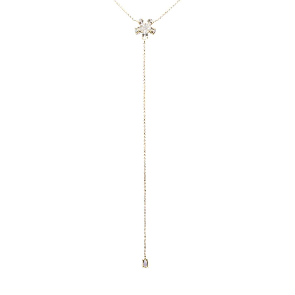 Gargantilha Ouro 18k Gravata com Flor de Topázio Branco 40 cm