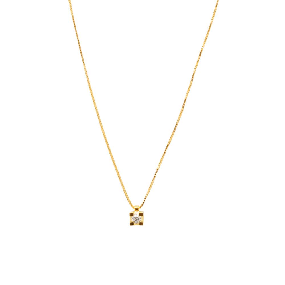 Gargantilha Ouro 18k Ponto de Luz com Diamante 45 cm