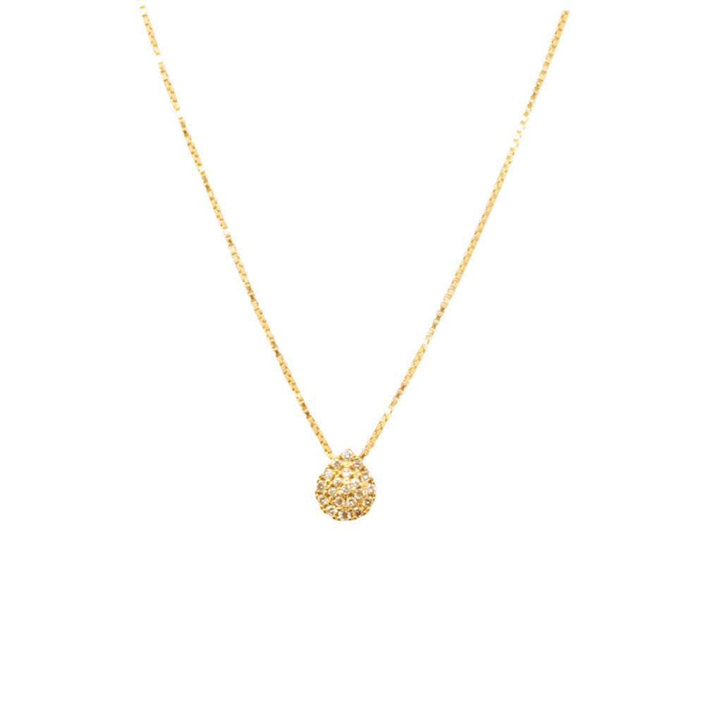 Gargantilha Ouro 18k Ponto de Luz Gota Diamante 40 cm