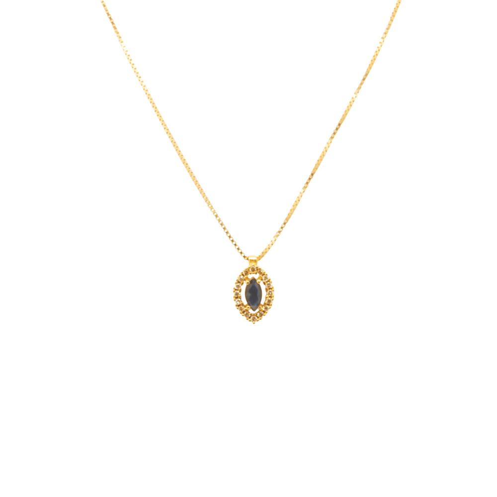 Gargantilha Ouro 18k Safira Azul e Diamantes 50 cm