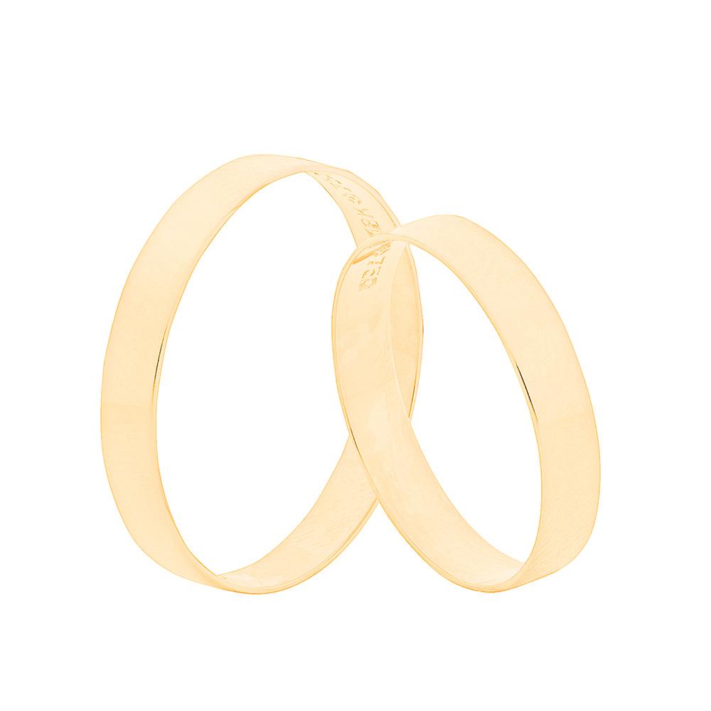 Par de Alianças de Casamento Ouro 18k Reta Lisa 3,5 mm