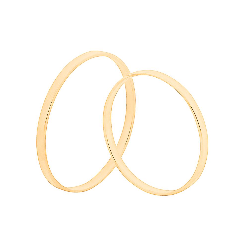 Par de Alianças de Casamento Ouro 10k Tradicional Fina 1,5 mm