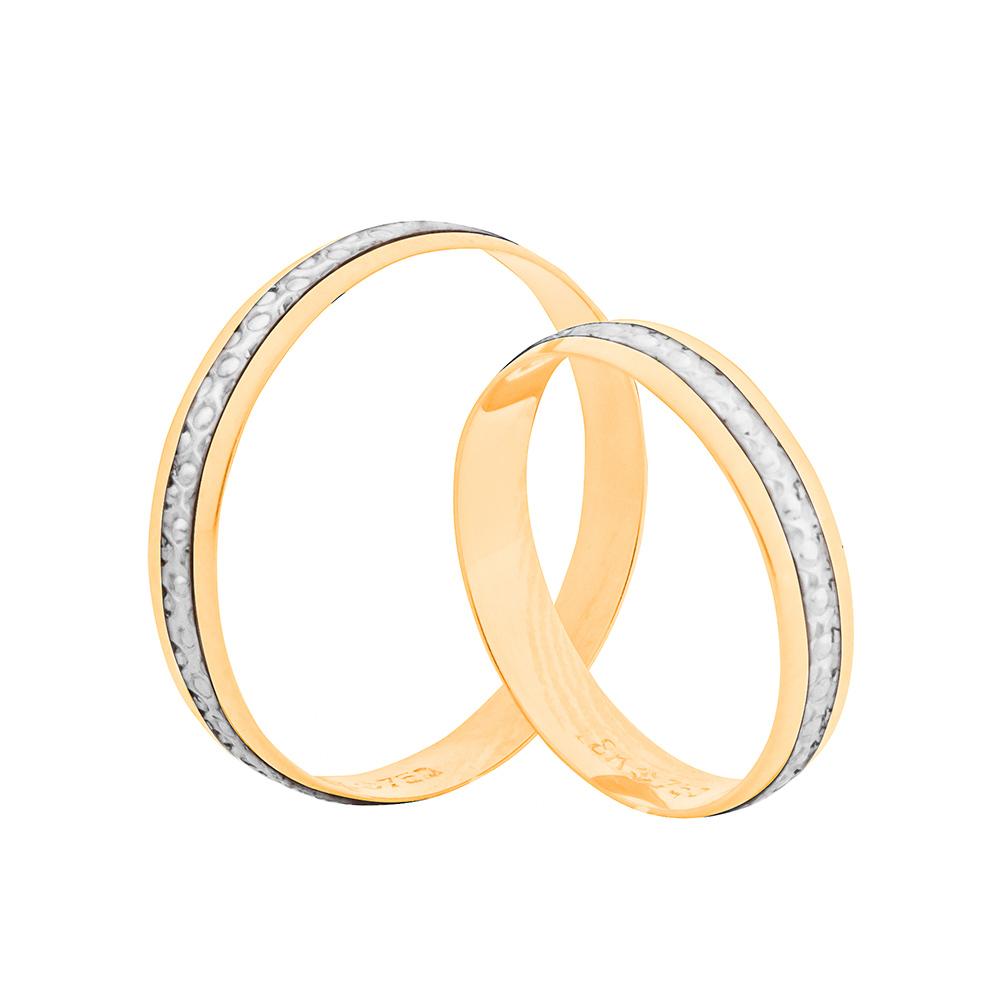 Par de Alianças de Casamento Ouro 18k Friso Trabalhado em Ródio Branco 4 mm