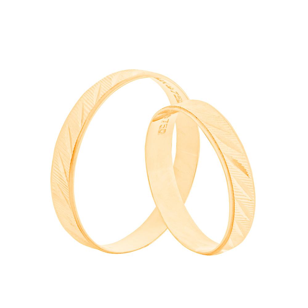 Par de Alianças de Casamento Ouro 18k Trabalhada 4 mm