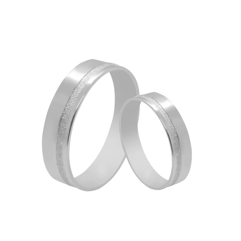 Par de Alianças de Namoro Prata 925 com Friso Diamantado 5 mm