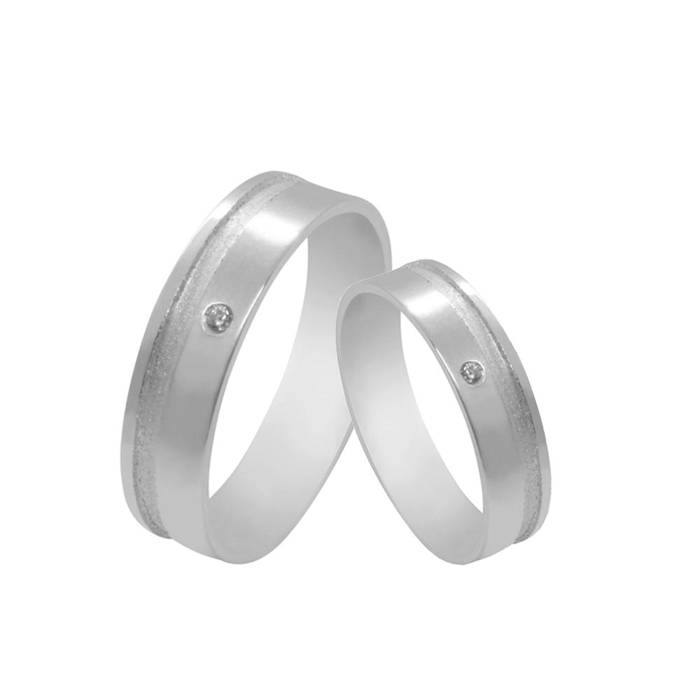 Par de Alianças de Namoro Prata 925 com Friso Diamantado e Zircônia 5 mm