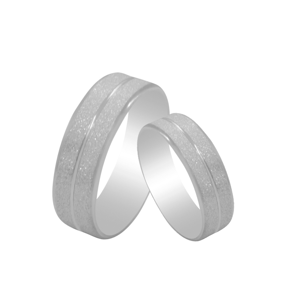 Par de Alianças de Namoro Prata 925 Diamantada 7 mm