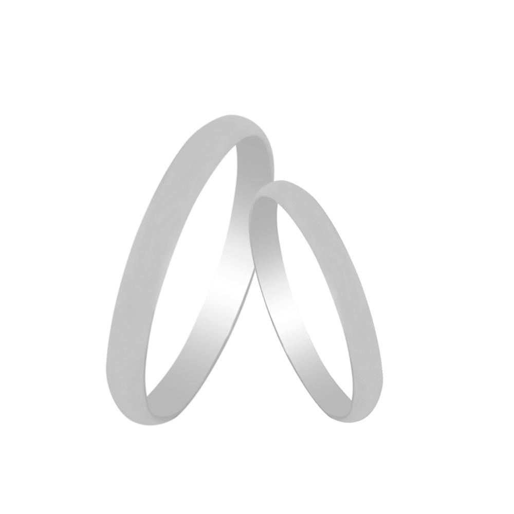 Par de Alianças de Namoro Prata 925 Lisa Tradicional 3 mm