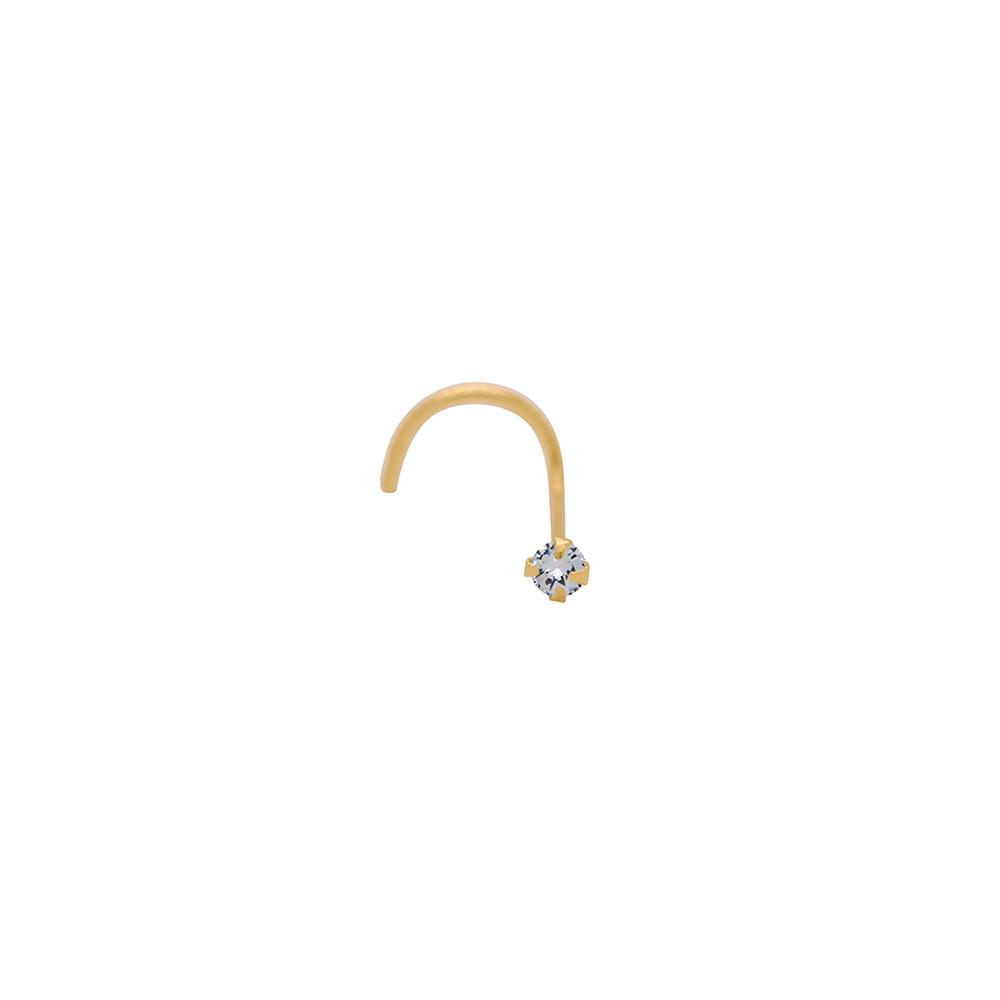 Piercing de Nariz Ouro 18k Ponto de Luz com Zircônia 1,75 mm