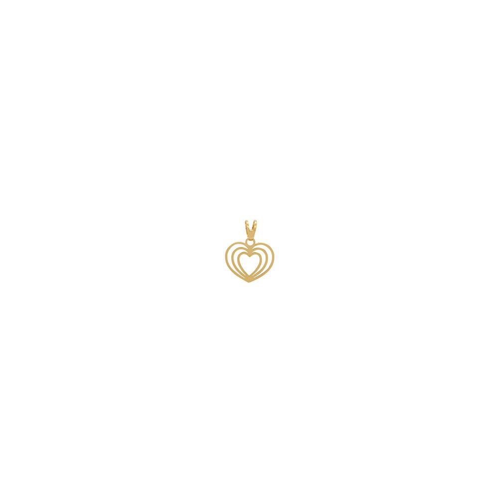 Pingente Ouro 18k Coração Vazado 11 mm