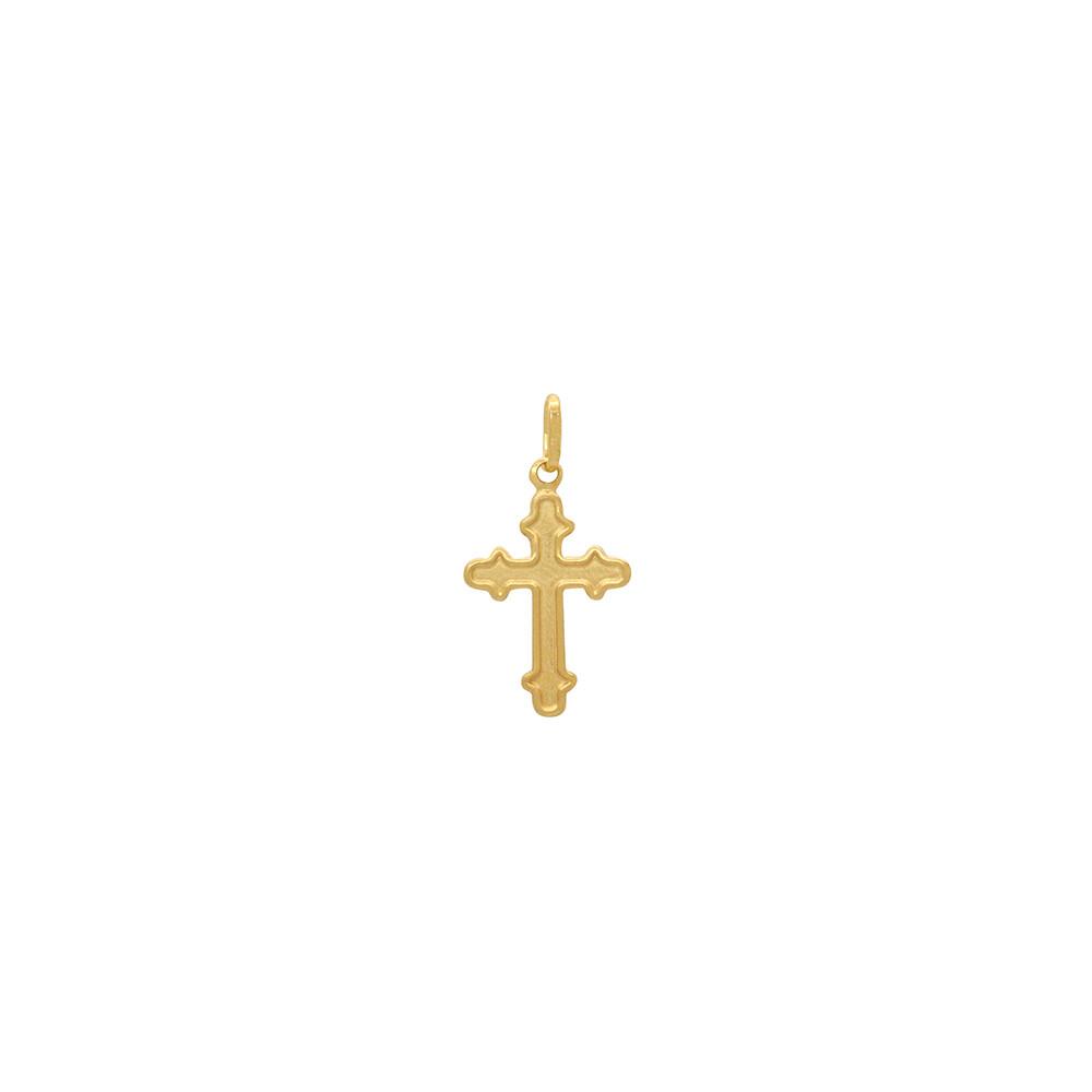 Pingente Ouro 18k Cruz com Borda Trabalhada Pequeno 14 mm