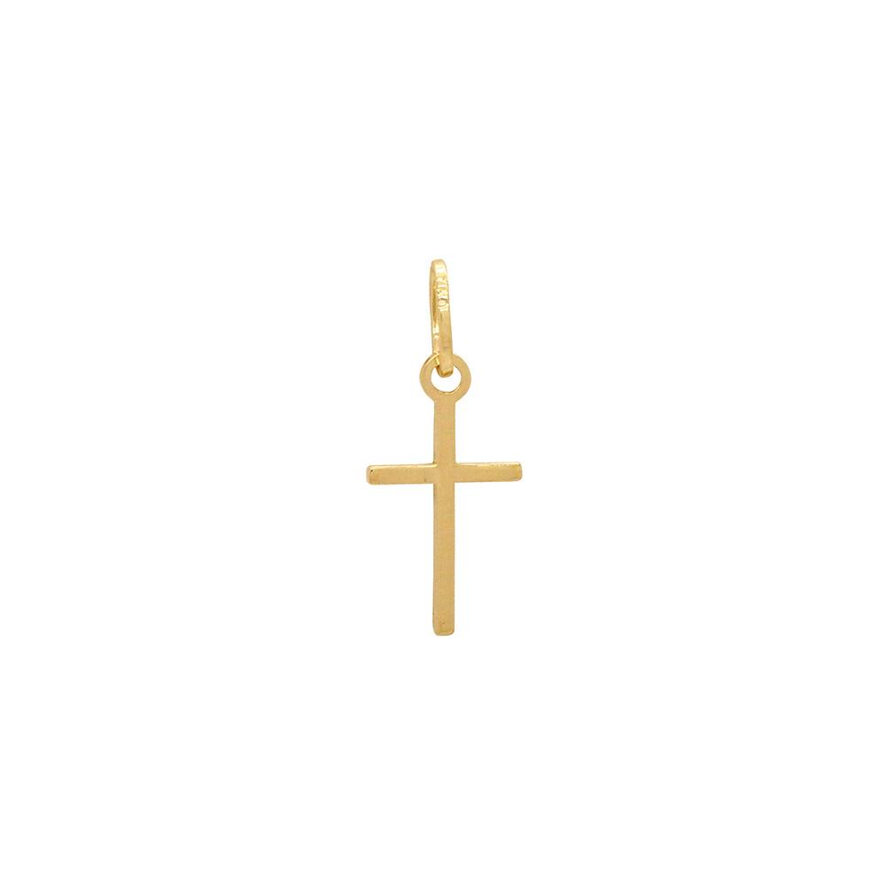 Pingente Ouro 18k Cruz Palito Pequeno 10 mm