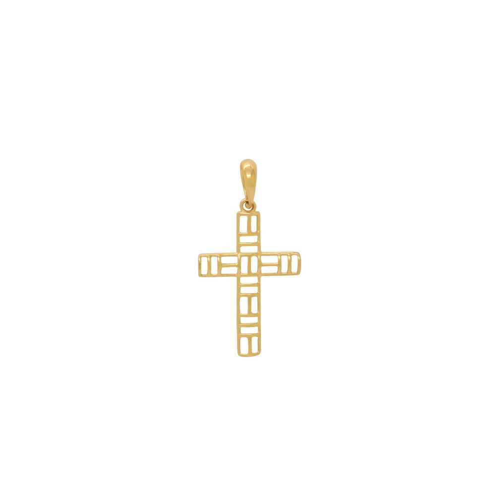 Pingente Ouro 18k Cruz Vazada 21 mm