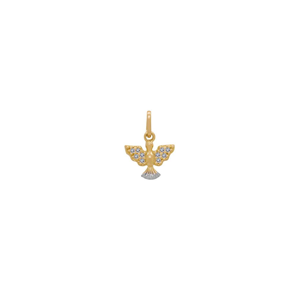 Pingente Ouro 18k Espírito Santo com Zircônias 8 mm