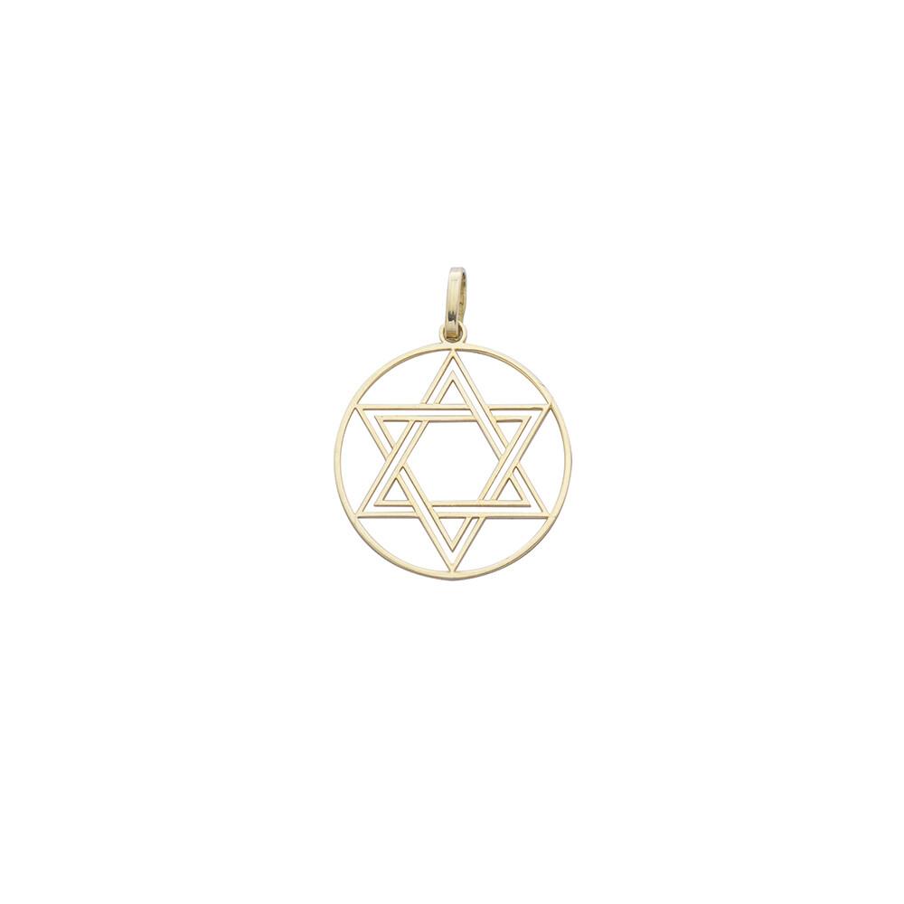 Pingente Ouro 18k Estrela de Davi Fio 23 mm