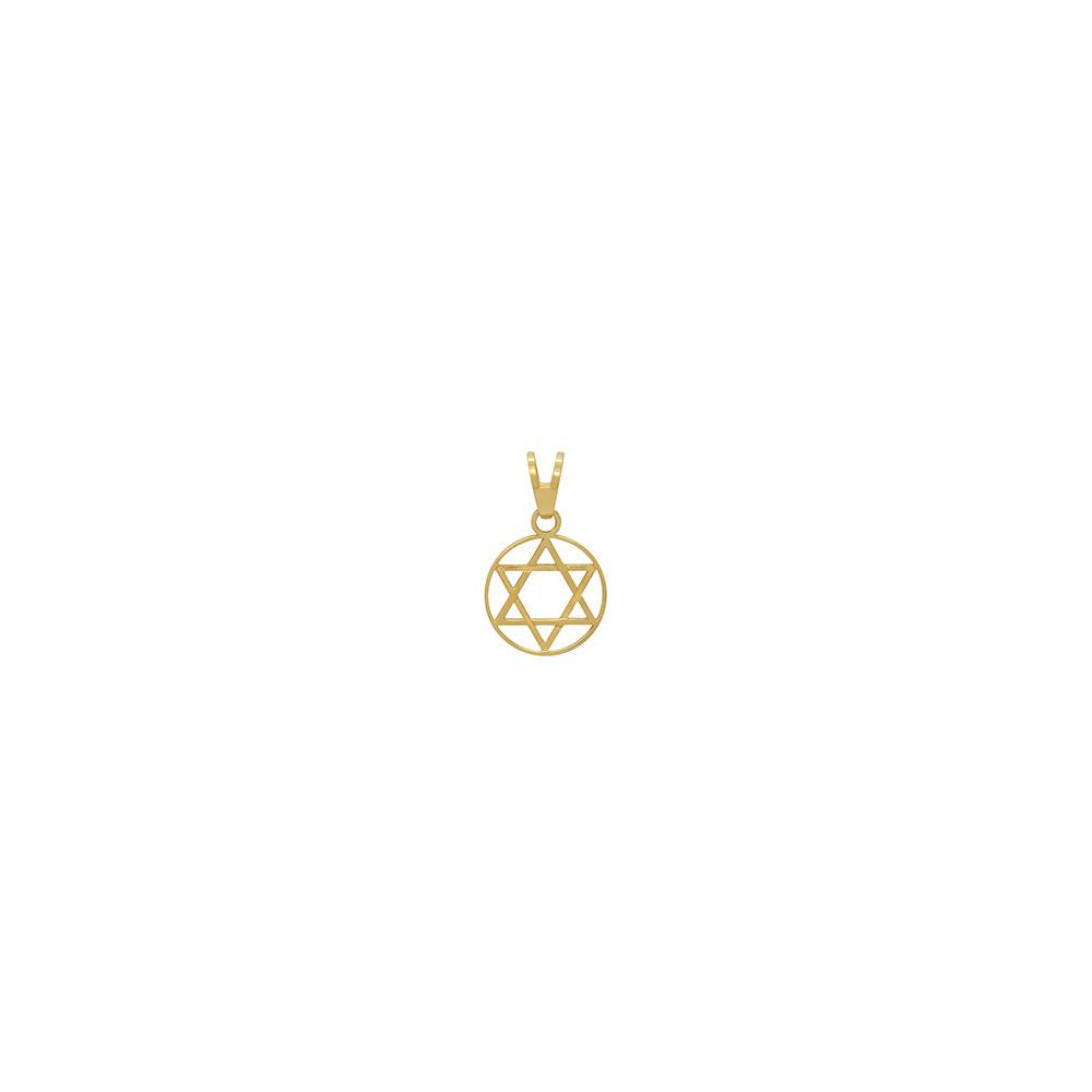 Pingente Ouro 18k Estrela de Davi Redondo Pequeno 10 mm
