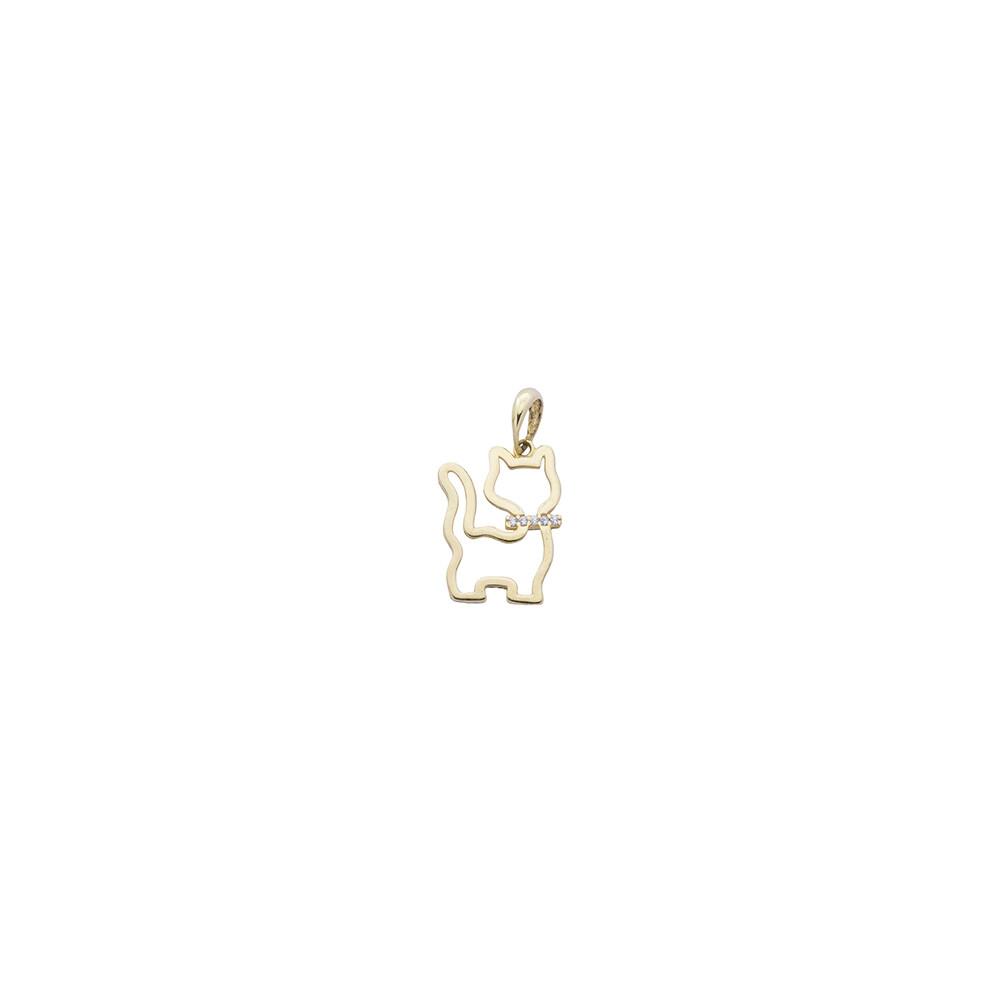 Pingente Ouro 18k Gato com Zircônia 18 mm