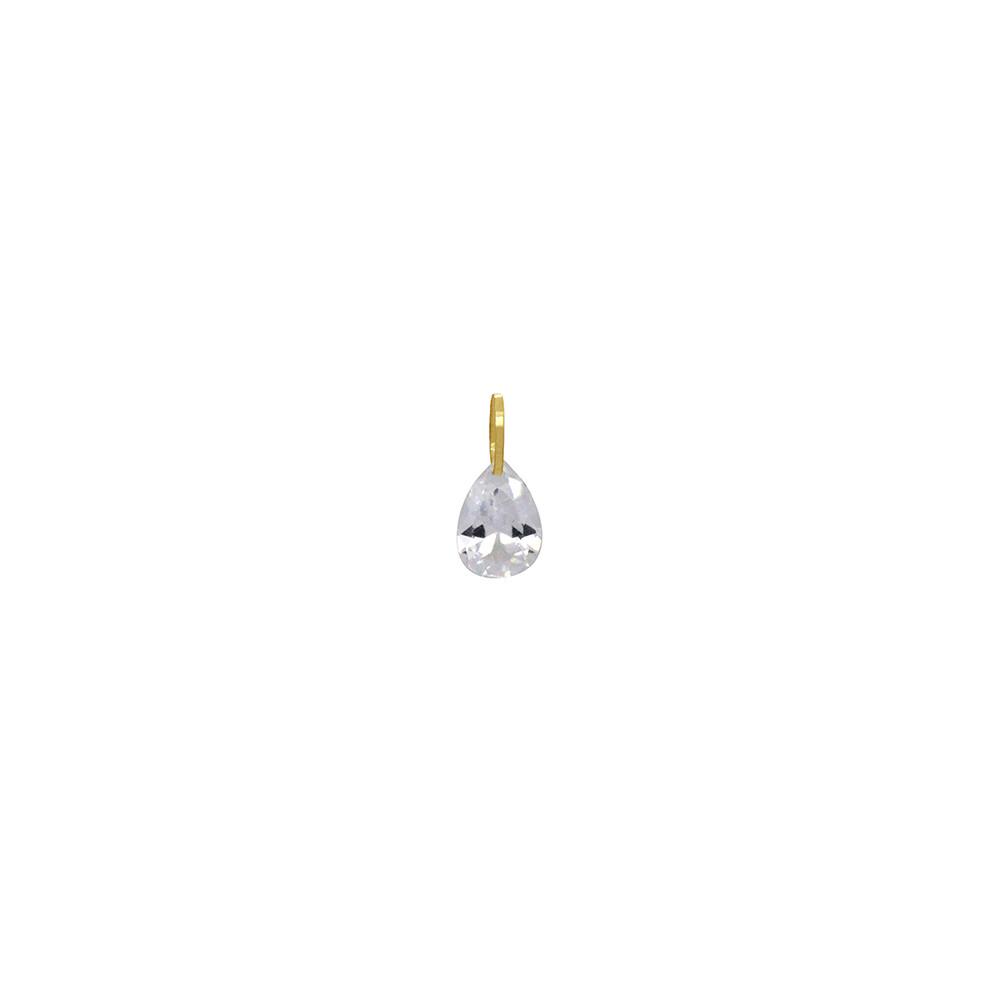 Pingente Ouro 18k Gota Zircônia Pequeno 8 mm