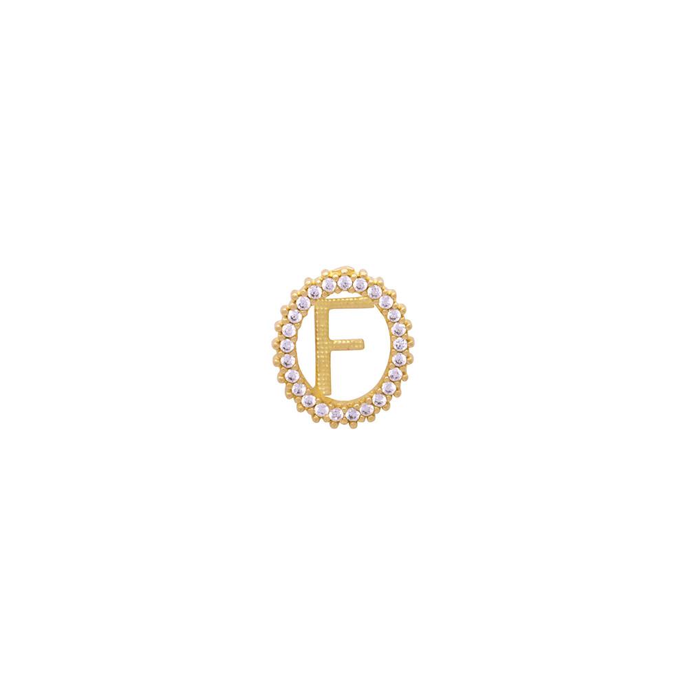 Pingente Ouro 18k Letra F Cravejada com Zircônias Brancas 12 mm