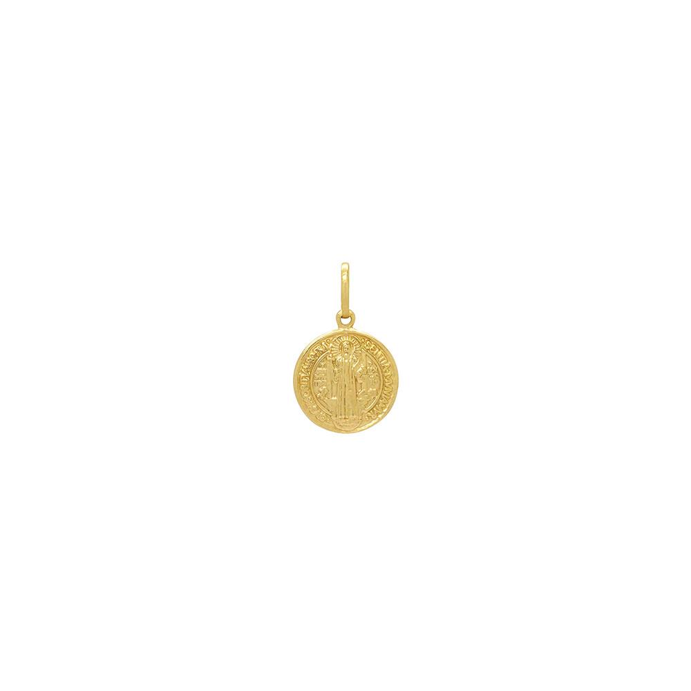 Pingente Ouro 18k Medalha São Bento Oco Pequeno 13 mm