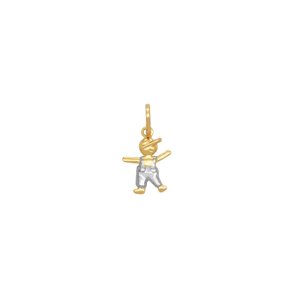 Pingente Ouro 18k Menino com Ródio 13 mm