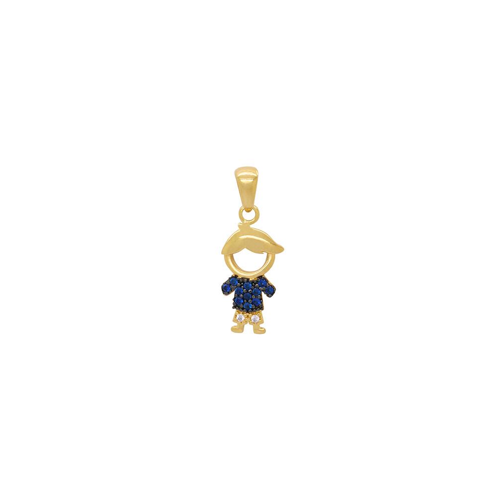Pingente Ouro 18k Menino Cravejado com Zircônias Azuis e Brancas 13 mm