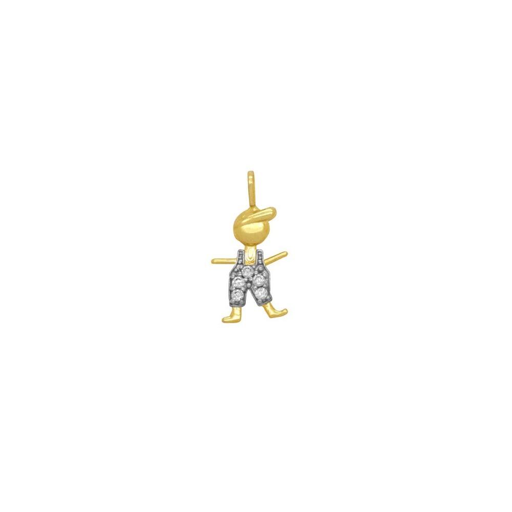 Pingente Ouro 18k Menino Roupinha Cravejada com Zircônias 11 mm