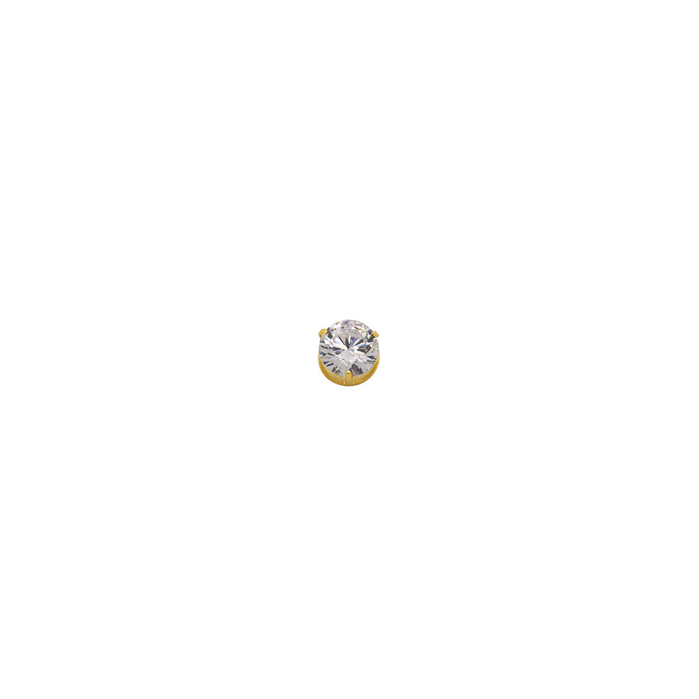 Pingente Ouro 18k Ponto de Luz com Zircônia 9 mm
