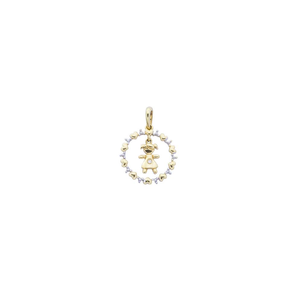 Pingente Ouro 18k Redondo Vazado Menina com Diamante 20 mm