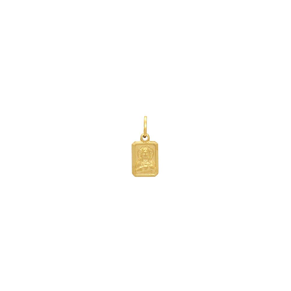 Pingente Ouro 18k Sagrado Coração de Jesus e N. Sra. do Carmo Pequeno Oco 8 mm