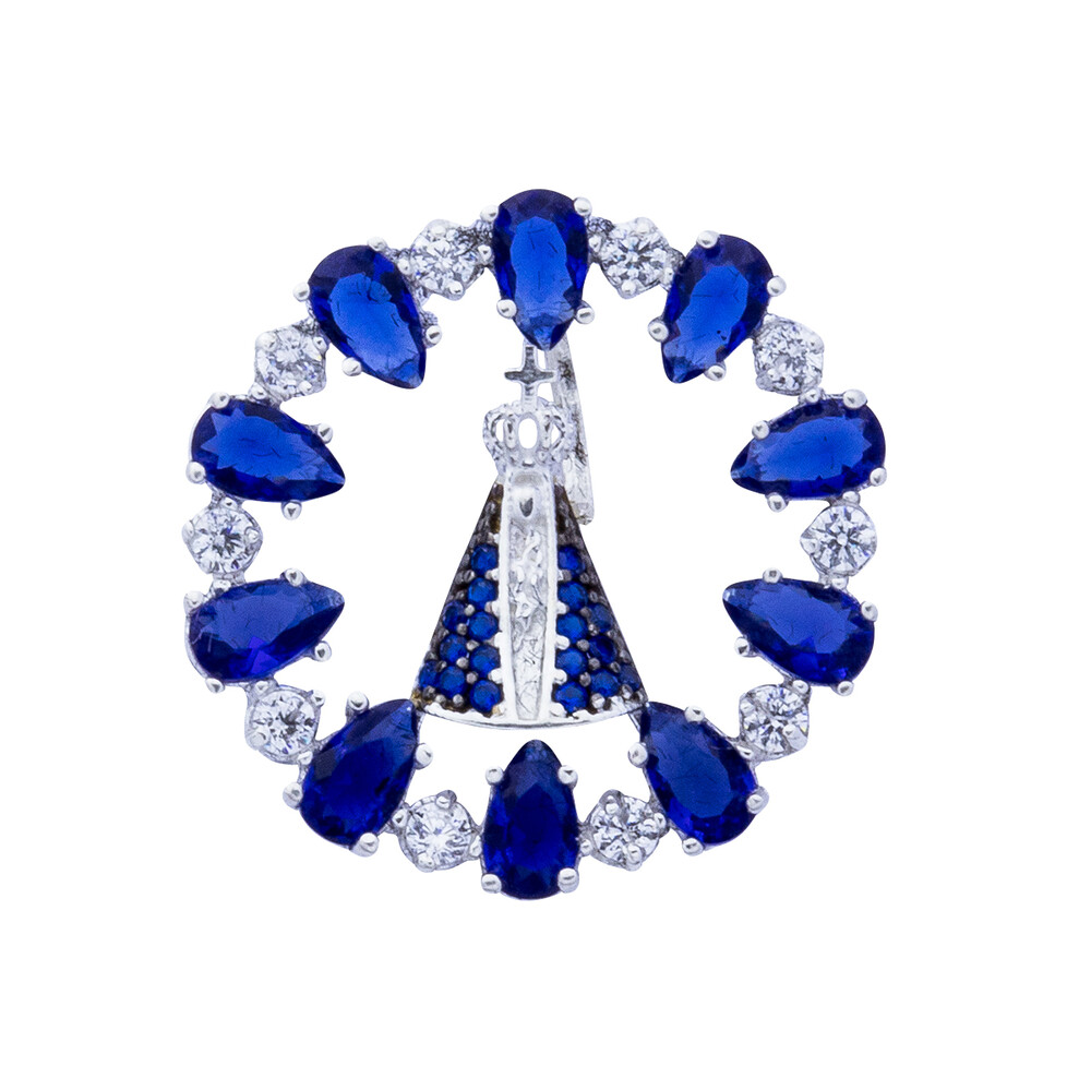 Pingente Prata 925 N. Sra. Aparecida com Zircônia Azul e Branca 22 mm