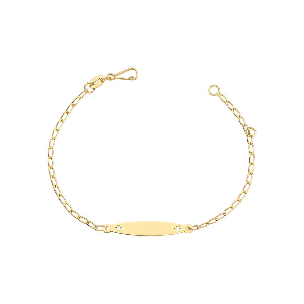Pulseira Ouro 10k Infantil Chapa Elo Groumet com Estrelas 14 cm