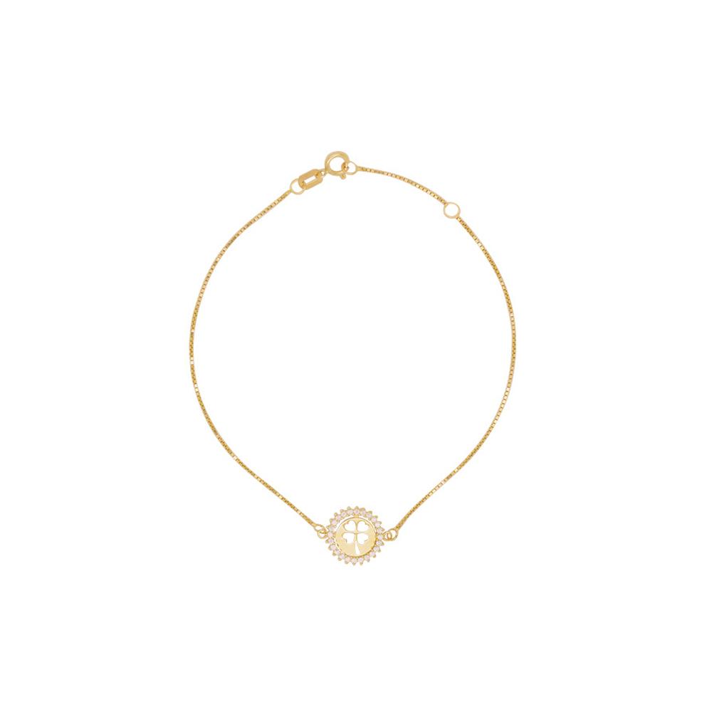 Pulseira Ouro 18k Elo Veneziana Trevo da Sorte 19 cm