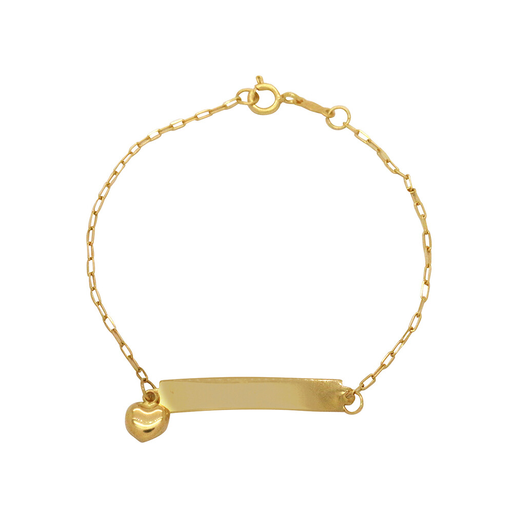 Pulseira Ouro 18k Infantil Chapa e Pingente Coração 15 cm