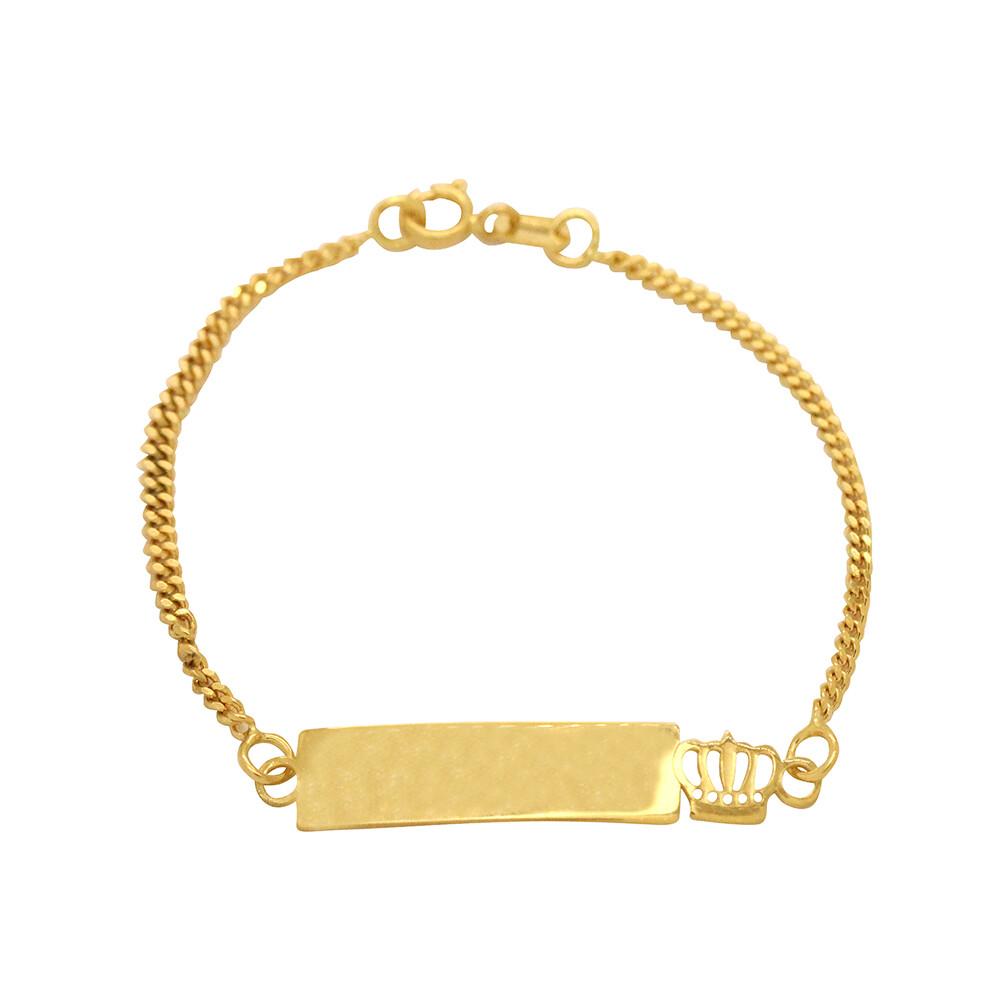 Pulseira Ouro 18k Infantil Plaquinha com Coroa 13 cm