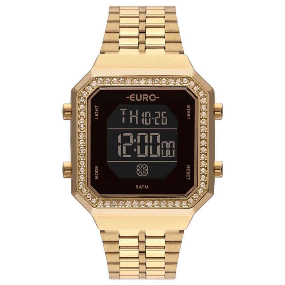 Relógio de Pulso Euro Feminino Digital Quadrado EUBJK032A