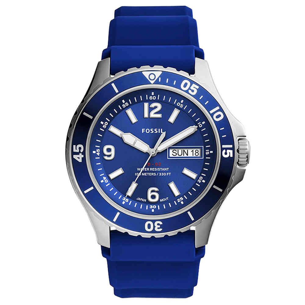 Relógio de Pulso Fossil Date Navy Masculino com Pulseira de Silicone FS5700