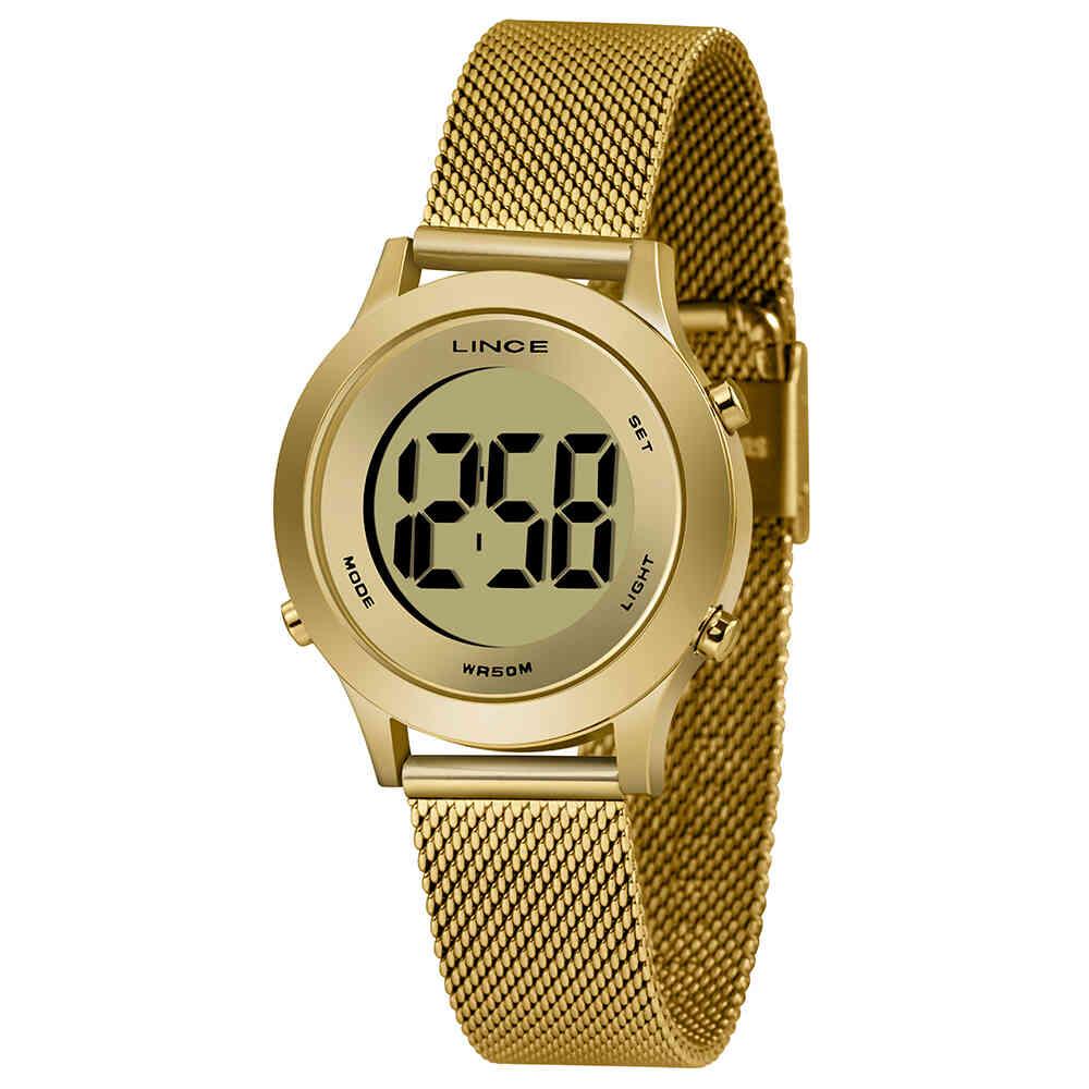 Relógio de Pulso Lince Digital Feminino com Pulseira Esteirinha SDPH109L