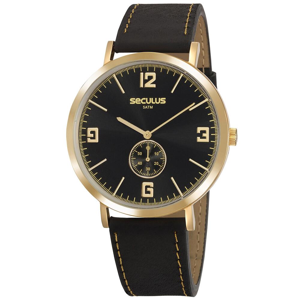 Relógio de Pulso Seculus com Pulseira de Couro Unissex 20763GPSVDC1