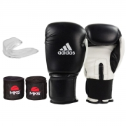 Kit Boxe Adidas Power 100: Luva + Bandagem + Bucal - Preto