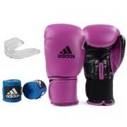 Kit Boxe Adidas Power 100: Luva + Bandagem + Bucal - Rosa