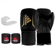 Kit Boxe Adidas Speed 50: Luva + Bandagem + Bucal - Preto e Dourado