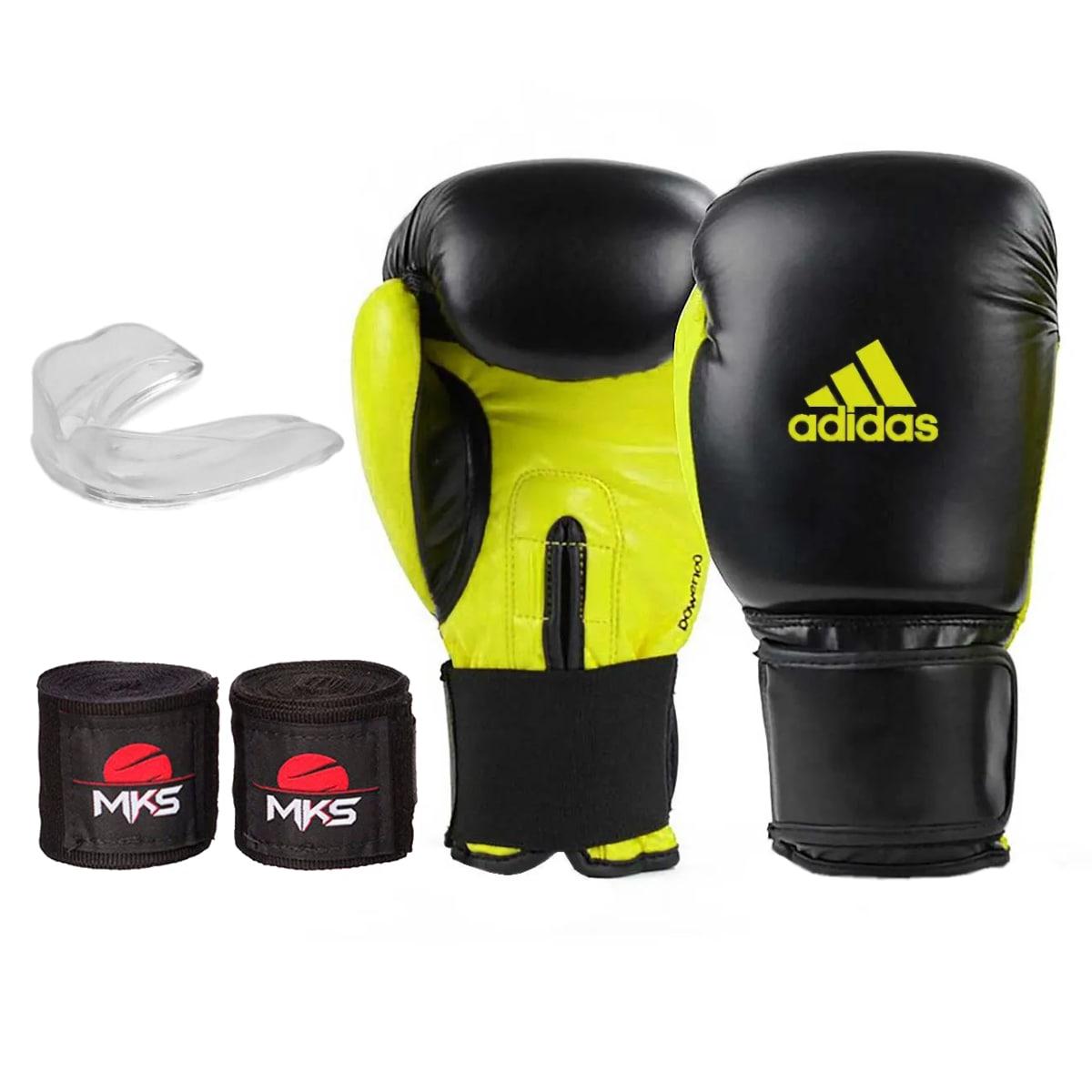 Kit Boxe Adidas Power 100: Luva + Bandagem + Bucal - Amarelo
