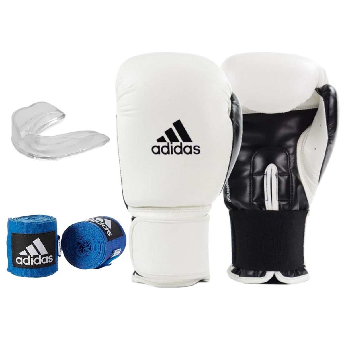 Kit Boxe Adidas Power 100: Luva + Bandagem + Bucal - Branco
