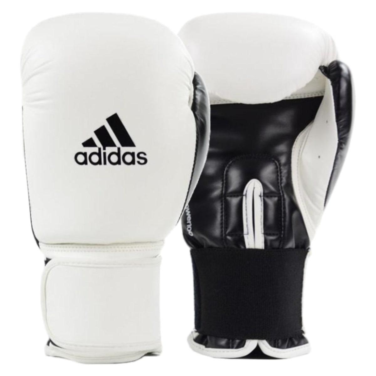 Kit Boxe Adidas Power 100: Luva + Bandagem + Bucal - Branco
