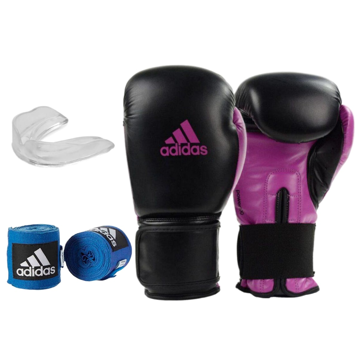 Kit Boxe Adidas Power 100: Luva + Bandagem + Bucal - Preto e Rosa