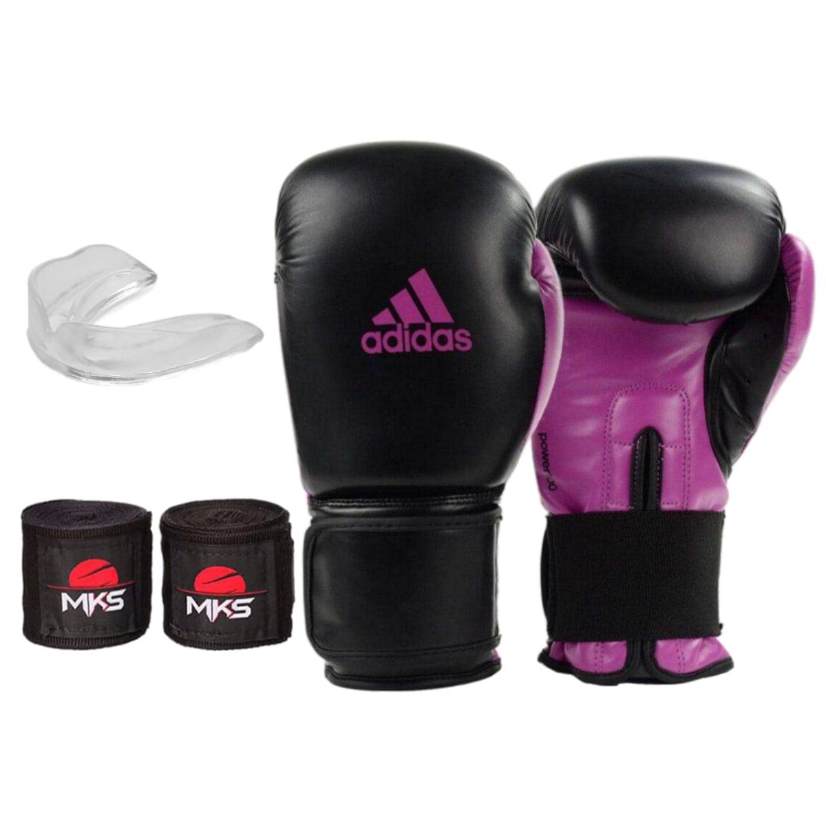 Kit Boxe Adidas Power 100: Luva + Bandagem + Bucal - Preto e Rosa