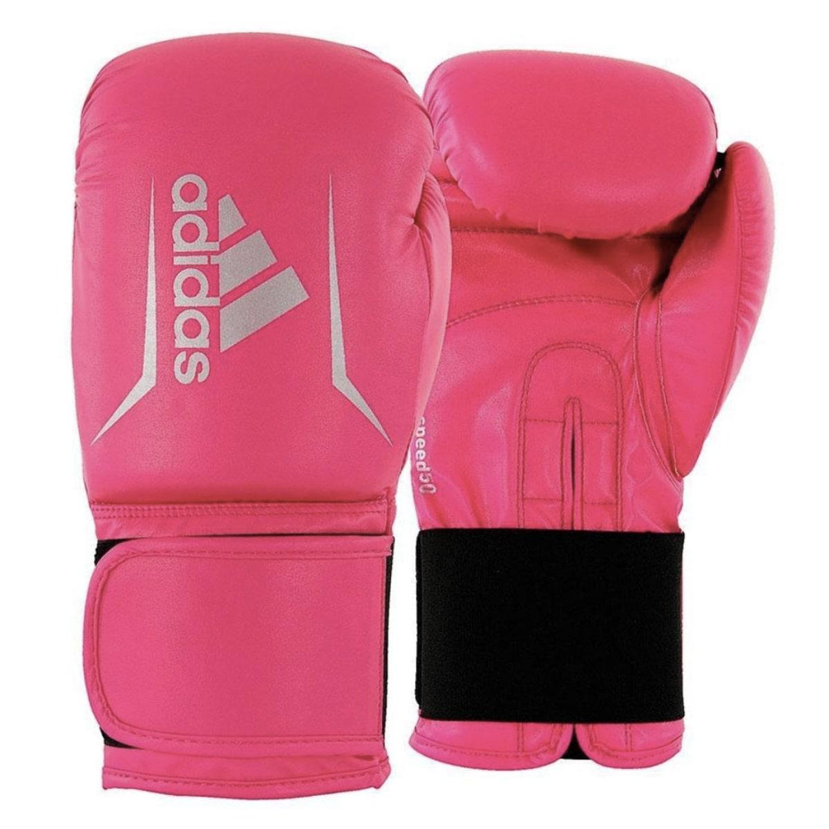 Kit Boxe Adidas Speed 50: Luva + Bandagem + Bucal - Rosa