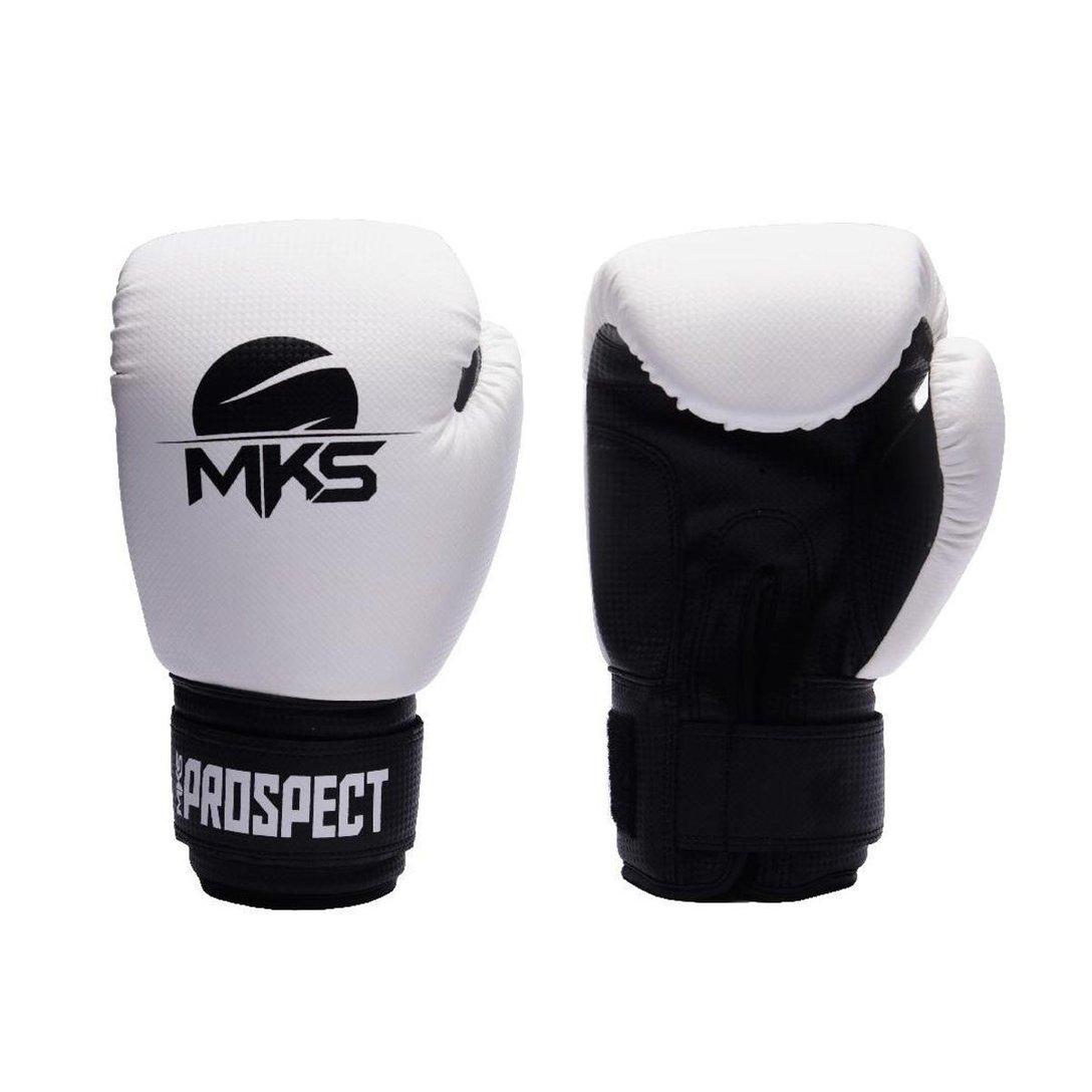 Kit Boxe MKS Prospect: Luva + Bandagem + Bucal - Branco