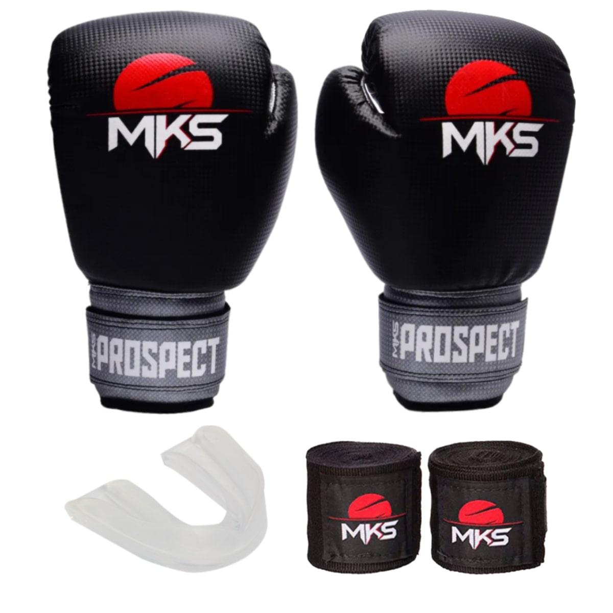 Kit Boxe MKS Prospect: Luva + Bandagem + Bucal - Preto e Prata